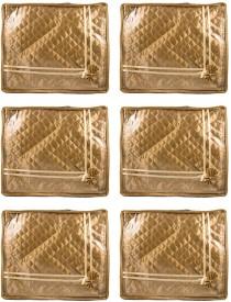 Annapurna Sales Golden Small Satin Saree Cover - Set of 6 Pcs. Pouch