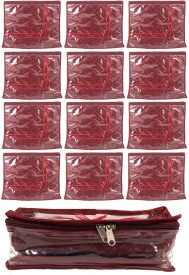 Annapurna Sales Maroon Satin Single Saree Cover and Transparent Churi or Bangles Case - Set of 13 Pouch