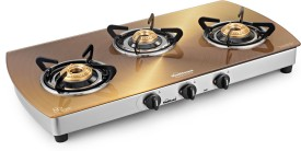Sunflame Crystal Golden Toughened Glass Cooktop (3 Burner)