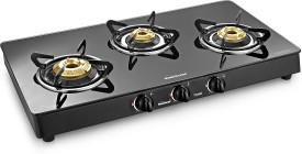 Sunflame Crystal Plus 3B BK AI 3 Burner Rectangle Gas Stove