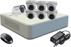 Hikvision DS-7108HGHI-F1 Mini 8CH DVR, 6(DS-2CE56COT-IR) Dome Cameras (With Mouse)