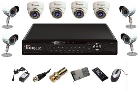 Tentronix T-8CH-8-DB8 8Channel DVR + 4 Dome + 4 Bullet CCTV Cameras