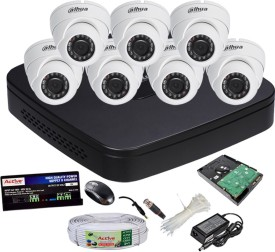 Dahua DH-HCVR4108C-S2 8-Channel Dvr + 7(DH-HAC-HDW1000RP-0360B) Dome Cameras (With 1TB H.D,Mouse,Power Supply,BNC & DC Connectors,Cable)