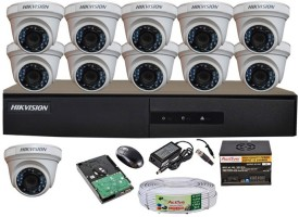 Hikvision DS-7216HGHI-E1 16CH Dvr, 11(DS-2CE56COT-IRP) Dome Cameras (With Mouse, Remote, 2TB HDD 1Pcs, Bnc&Dc Connectors,Power Supply,Cable)