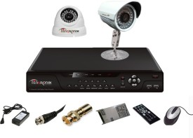 Tentronix T-4AVR-2-DB13 4-Channel AHD Dvr, 1(1.3MP) Dome, 1(1.3MP) Bullet Cameras