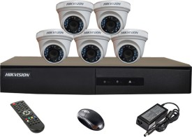 Hikvision DS-7208HGHI-E1 8CH Dvr, 5(DS-2CE56COT-IRP) Dome Camera(with Mouse,Remote)