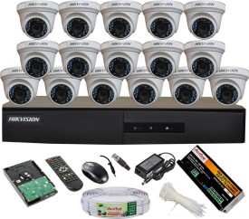 Hikvision DS-7216HGHI-E1 16CH Dvr, 16(DS-2CE56COT-IRP) Dome Cameras (With Mouse, Remote, 2TB HDD, Bnc&Dc Connectors,Power Supply,Cable)