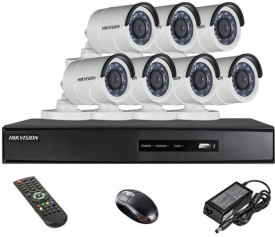 Hikvision DS-7208HQHI-E1 8Ch Dvr, 7(DS2CE16DOT-IRP) Bullet Camera (with Mouse, Remote)