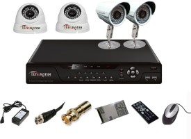 Tentronix T-4AVR-4-DB13 4-Channel AHD Dvr, 2(1.3MP) Dome, 2(1.3MP) Bullet Cameras