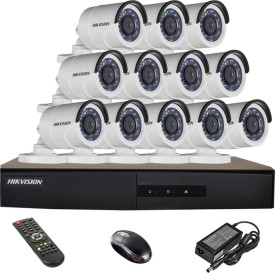 Hikvision DS-7216HGHI-E1 16CH Dvr, 12(DS-2CE16COT-IRP) Bullet Cameras (With Mouse, Remote)