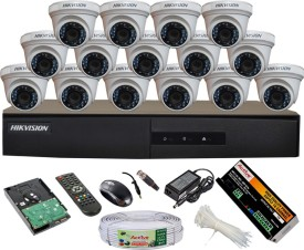 Hikvision DS-7216HGHI-E1 16CH Dvr, 15(DS-2CE56COT-IRP) Dome Cameras (With Mouse, Remote, 2 TB HDD, Bnc&Dc Connectors,Power Supply,Cable)