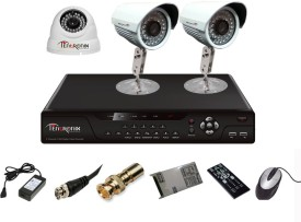 Tentronix T-4AVR-3-B2D13 4-Channel AHD Dvr, 1(1.3MP) Dome, 2(1.3MP) Bullet Cameras
