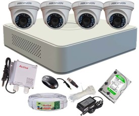 Hikvision DS-7104HGHI-E1 4 Ch Dvr, 4 (DS2CE56COT-IR) Dome (With Mouse, 500GB HDD, Bnc 8Pcs, Dc 4Pcs,Power Supply,Cable)