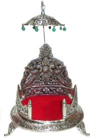 Crafts Paradise White Metal Large Size Round Singhasan Aluminium Home Temple