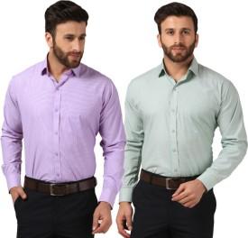 Mesh Men's Solid Formal Green, Purple Shirt(Pack of 2)