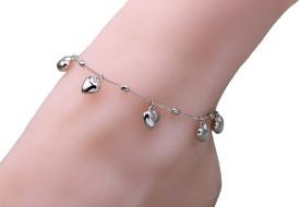 Sansar India Heart Charm Boho Beach jewelry Alloy Anklet