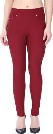 Hightide Slim Fit Women's Maroon Trousers