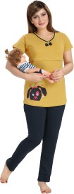 AV2 Women's Printed Yellow Top & Pyjama Set