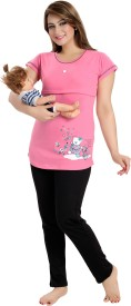 AV2 Women's Printed Pink Top & Pyjama Set