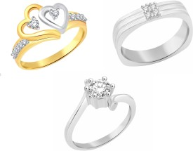 Classic Love Birds Combo for Women [CJ3027COM8] Alloy Cubic Zirconia 18K Yellow Gold, 18K White Gold Plated Ring Set