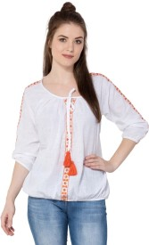 Aania Casual 3/4th Sleeve Embroidered Women's White Top