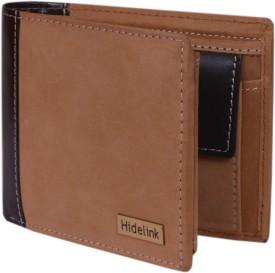 Hidelink Men Tan Genuine Leather Wallet(9 Card Slots)