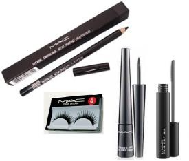 Imported Mac Eyeliner,Mascara,Pencil kajal,Eyelashes(Set of)