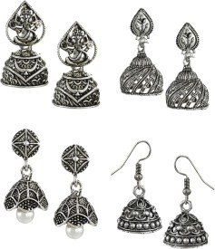 Zaveri Pearls Pack Of Four Finely Detailed Oxidised Zinc Jhumki Earring