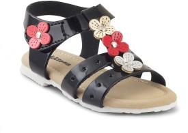 Kittens Girls Sling Back Strappy Sandals(Black)
