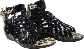 WTdesign Girls Slip-on Gladiators(Black)