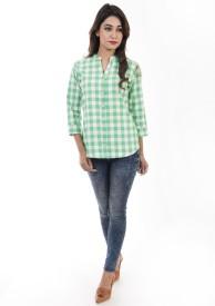 Amadore Women's Checkered Casual Green, White Shirt