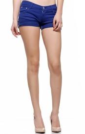 Fasnoya Solid Women's Blue Hotpants