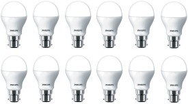 Philips 4W Round B22 LED Bulb (White, Pack of 12)