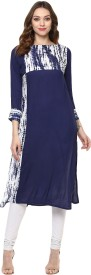 IVES Wedding Textured Women's Kurti(Blue)