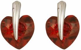 Glitters Online Gold Red Heart Shape Stone Leaf Design Brass Stud Earring