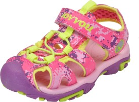 Yellow Bee Girls Buckle Sports Sandals(Pink)