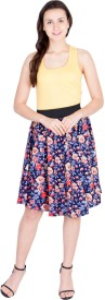 Iubit Floral Print Women's A-line Multicolor Skirt