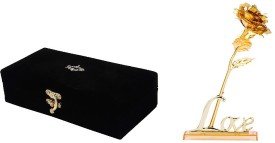 Jewel Fuel 24K Gold Rose (25Cm) With Velvet Box and Love Stand Showpiece, Artificial Flower Gift Set