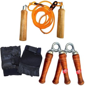BFIT SKIPPING ROPE + HAND GRIPPER + GYM GLOVES PAIR Gym(Orange, Brown, Black)