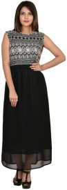 Goodwill Impex Women's Fit and Flare Black, White Dress