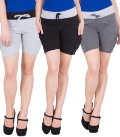 American-Elm Solid Women's Multicolor Hotpants