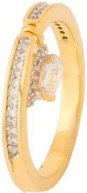 Voylla Artificial Classic Embellished Brass Cubic Zirconia Yellow Gold Plated Ring