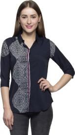 One Femme Women's Printed Formal Dark Blue Shirt