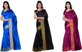vimalnath synthetics Solid Fashion Cotton Saree(Pack of 3, Multicolor)