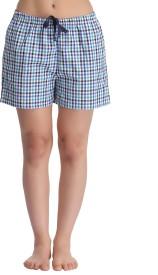 Clovia Printed Women's Blue Night Shorts