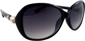 ELS Q-2060-Black Oval Sunglasses(Black)