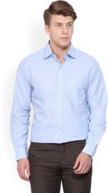 John Players Men's Striped Formal Light Blue Shirt