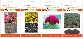 Alkarty Balsam, Sunflower, Cockscomb, Tulsi summer flower seeds pack of 20 each Seed(20 per packet)