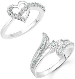 Vighnaharta Finger Shine Heart Combo Rings for Women and Girls- [1076FRR-1002FRR] Alloy Cubic Zirconia 18K White Gold Plated Ring Set