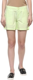 Honey By Pantaloons Solid Women's Yellow Basic Shorts